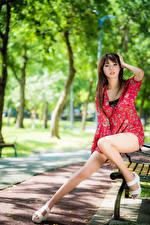 Hintergrundbilder Asiatische Bank (Möbel) Sitzend Bein Kleid Starren
