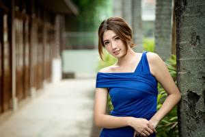Fotos Asiatisches Bokeh Braunhaarige Blick Hand Kleid Schöner Mädchens