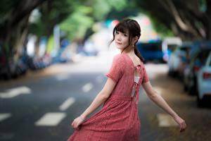 Bilder Asiatische Unscharfer Hintergrund Braunhaarige Starren Hand Kleid Mädchens