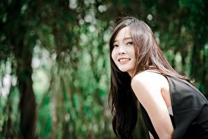 Image Asian Blurred background Glance Smile Brown haired female