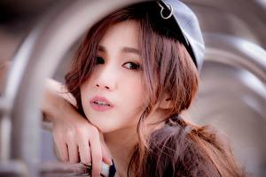 Images Asian Bokeh Hands Glance Brown haired Face female