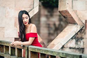 Fotos Asiatische Brünette Kleid Unscharfer Hintergrund