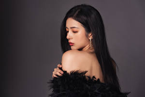 Hintergrundbilder Asiaten Brünette Grauer Hintergrund  junge frau