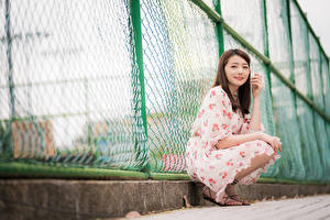 Wallpapers Asian Fence Sit Gown Glance Girls