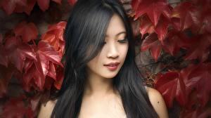 Hintergrundbilder Asiaten Blattwerk Brünette Haar