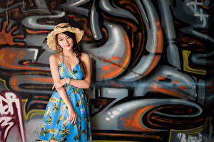 Pictures Asiatic Graffiti Dress Hat Braid hair Wall Girls