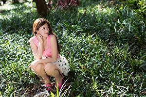 Bilder Asiaten Gras Braune Haare Sitzt Hand junge frau