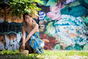 Hintergrundbilder Asiaten Gras Der Hut Bokeh Kleid Braunhaarige Sitzend junge frau