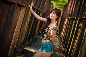 Photo Asiatic Handbag Bokeh Fence Redhead girl Staring Hands Shorts young woman