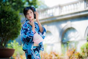 Bilder Asiatisches Kimono Unscharfer Hintergrund Brünette Hand Mädchens