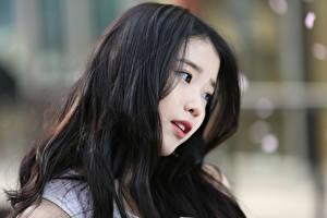 Fotos Asiatisches Bokeh Brünette Haar Lee Ji-eun, Korean Prominente Mädchens