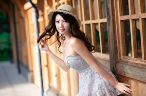 Pictures Asiatic Posing Dress Hat Glance Blurred background Beautiful Girls
