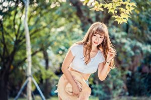 Pictures Asiatic Posing Hat Singlet Bokeh young woman