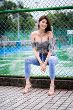 Pictures Asian Sitting Fence Jeans Blouse Smile Glance female