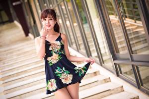 Image Asian Stairway Blurred background Frock Brown haired Hands Glance Pose Beautiful Girls