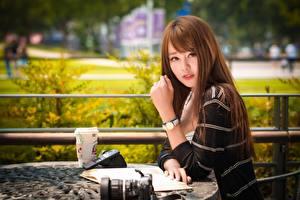 Bilder Asiatisches Armbanduhr Braune Haare Starren Hand Sitzend Unscharfer Hintergrund junge Frauen