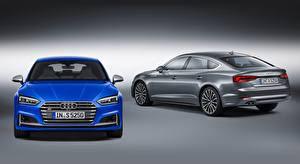Image Audi Gray background 2 Blue Grey Front S5, Sportback, 2016, fastback Cars