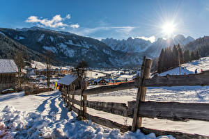 Pictures Austria Mountains Alps Snow Fence Sun Gosau Nature
