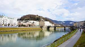 Desktop hintergrundbilder Österreich Fluss Brücke Salzburg Städte