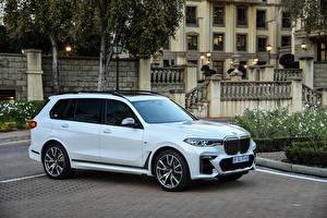 Hintergrundbilder BMW Softroader Metallisch Weiß 2019 X7 M50d automobil