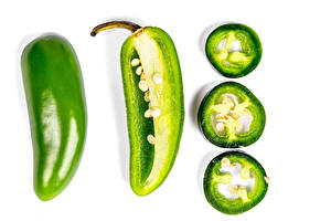 Image Bell pepper White background Green Piece Food