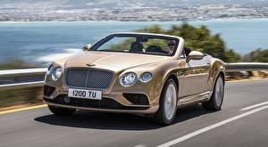 Image Bentley Convertible Asphalt Motion Blurred background Continental GT Convertible, 2015 automobile