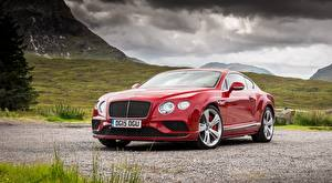 Bakgrunnsbilder Bentley Luksus Rød Kupé Continental GT, Speed UK-spec, 2015 Biler