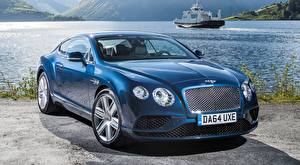 Photo Bentley Blue Coupe Expensive Luxury, Continental. GT V8, 2015 Cars