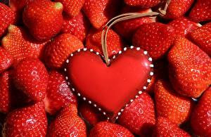 桌面壁纸,,浆果,很多,草莓,红色,心形符號,模板賀卡,食品