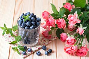 Picture Blueberries Rose Bouquets Berry Highball glass Flowers