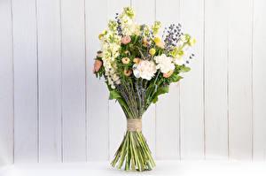 Wallpaper Bouquet Lavandula Matthiola Asters Walls Boards Flowers