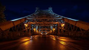 Pictures Bridges Dresden Germany Night time Loschwitz Bridge Cities