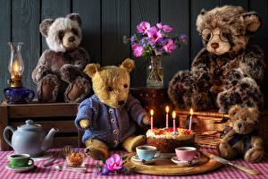 Pictures Torte Candles Kettle Teddy bear Paraffin lamp Bouquets Cup Vase Food