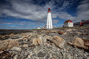 Pictures Canada Stones Lighthouses Clouds  Nature