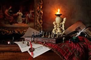 Picture Candles Fire Chess Feathers Still-life