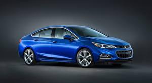Image Chevrolet Blue Sedan Gray background Cruze Premier, RS US-spec, 2016