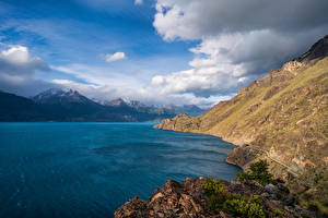 Wallpapers Chile Mountain Lake Sky Clouds Lake Buenos Aires, Patagonia Nature