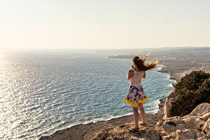 Pictures Cyprus Sea Coast Crag Windy Protaras Nature Girls