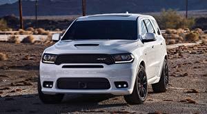 Pictures Dodge Sport utility vehicle Front White Durango, SRT, 2017 automobile
