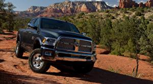 Fotos Dodge Schwarz Vorne Pick-up Ram 2500, Power Wagon Laramie Crew Cab, 2014 automobil