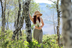 Pictures Elena Generi Bouquets Posing Trunk tree Skirt Singlet Hat Blurred background female