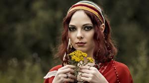Wallpapers Face Hands Glance Bokeh Redhead girl Girls