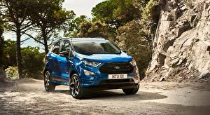 Wallpapers Ford Blue CUV EcoSport, ST-Line, 2017 automobile