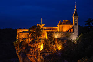 Wallpaper France Castle Cliff Night