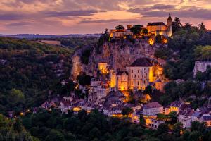 Photo France Building Evening Rock Rocamadour Cities