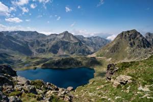 Hintergrundbilder Frankreich Berg Steine See Felsen Etang Blaou, Pyrenees Natur