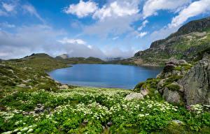 Fotos Frankreich Berg Steine See Felsen Wolke Etang De Fontargentes, Pyrenees Natur