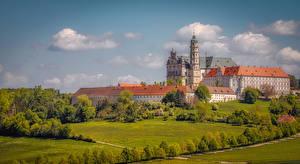 Hintergrundbilder Deutschland Kloster Haus Kirchengebäude Landschaftsbau Neresheim Abbey