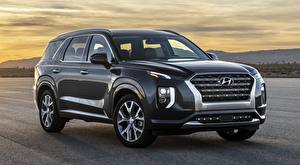 Wallpaper Hyundai Asphalt SUV Black Palisade, US-spec, 2019 automobile