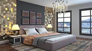 Wallpaper Interior Bedroom Room Bed Lamp Chandelier 3D Graphics